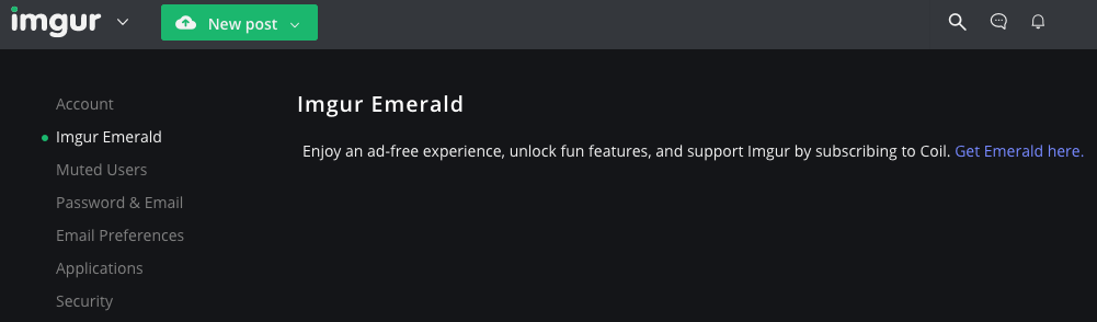 Get Emerald here link within Imgur account dashboard