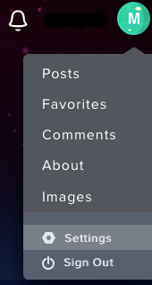 Settings option in menu on Imgur site